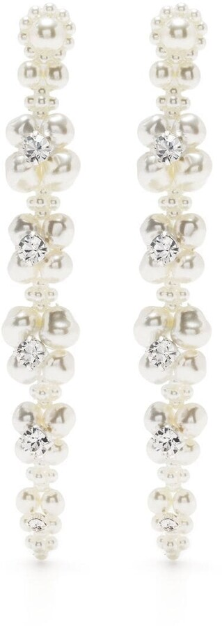 Thumbnail for your product : Simone Rocha Faux-Pearl Crystal Drop Earrings