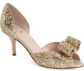 Kate Spade 'sela' glitter bow peep toe pump (Women)