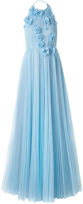 Jason Wu Collection Floral-appliqued Pleated Tulle Halterneck Gown
