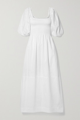 La Ligne Daisy Smocked Cotton-poplin Midi Dress - White