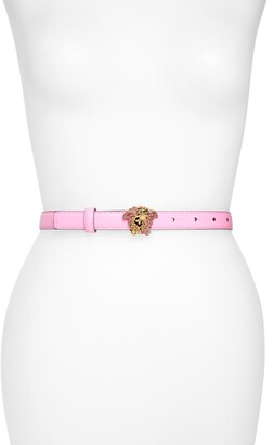 Versace First Line Versace Palazzo Dia Medusa Head Pave Buckle Leather Belt