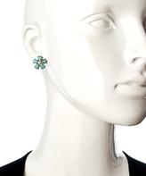 Blu Bijoux Gold And Coral Teardrop Flower Stud Earrings