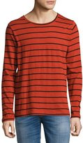 Nudie Jeans Orvar Striped Long-Sleeve T-Shirt, Blood Orange