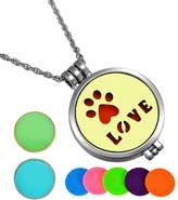 HooAMI Aromatherapy Essential Oil Diffuser Necklace Love Pet Paw Locket Pendant,5 Colorful Pads+2 Noctilucent Pads