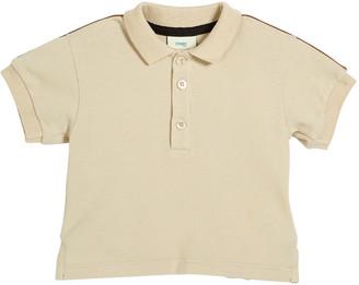 Fendi Boy's Logo Trim Polo Shirt, 12-24 Months, Beige