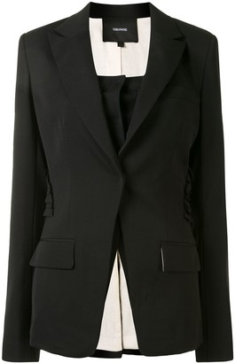 Vera Wang Ruffle Detail Single Breasted Blazer