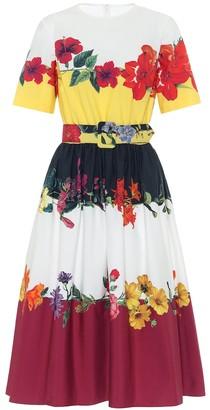 Oscar de la Renta Floral stretch-cotton midi dress