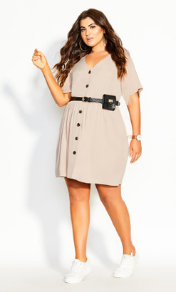 City Chic Cute Button Dress - sand