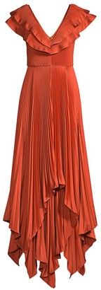 Flor Et. Al Tampico Pleated V-Neck Gown