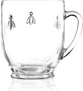 French Home La Rochère Glassware, Set of 6 Napoleonic Bee Mugs