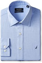 Nautica Men's Solid Twill Spread Collar Dress Shirt
