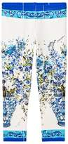 Dolce & Gabbana White and Blue Floral Leggings