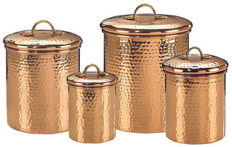 One Kings Lane Set of 4 Assorted Hammered Copper Canisters