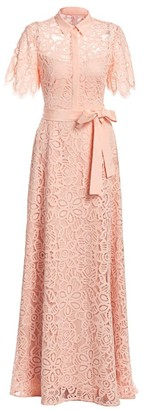 Lela Rose Lace Eyelet Flutter Sleeve A-Line Gown