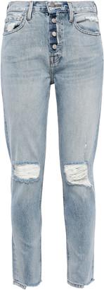 Frame Le Original Cropped Distressed Mid-rise Slim-leg Jeans