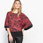 Anne Weyburn Printed Round-Neck Blouse with 3/4 Sleeves