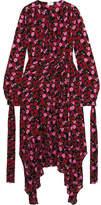 Magda Butrym Gela Asymmetric Printed Silk-crepe Midi Dress - Plum