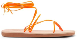 Ancient Greek Sandals String Wraparound Rubber And Leather Sandals - Orange