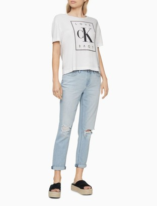 Calvin Klein Boyfriend Fit High Rise Distressed Cropped Jeans