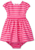 Ralph Lauren Cap-Sleeve Striped Sateen Dress w/ Bloomers, Pink, Size 6-24 Months