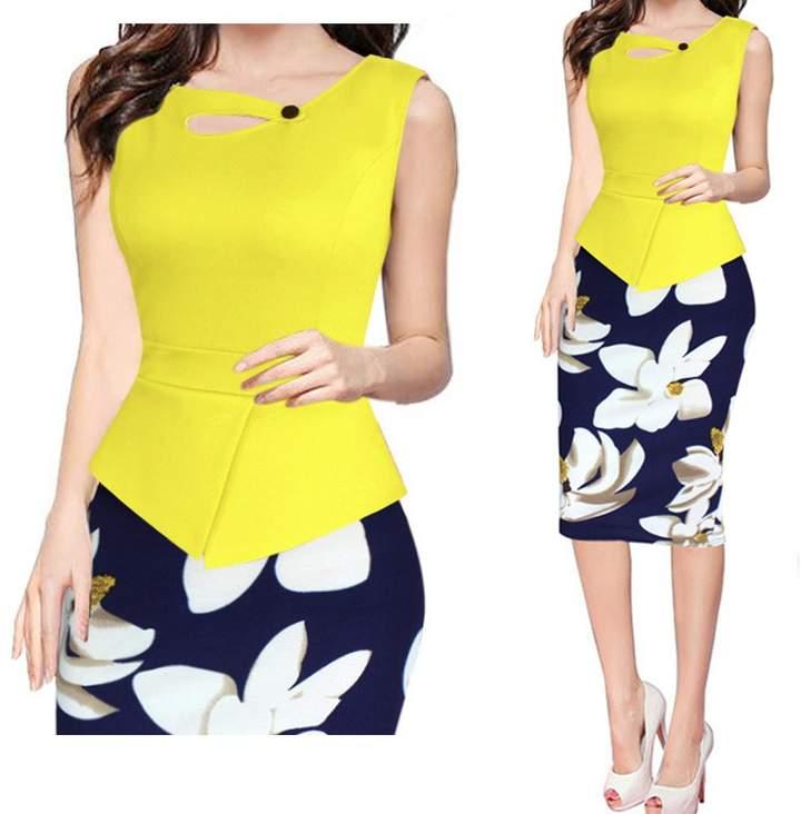 Kalin L Women Buttons Cross Colorblock Peplum Floral Skirt Tunic Maxi Pencil Dress