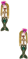 Elizabeth Cole Ariel Statement Earrings in Green.