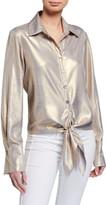 Finley Lindy Liquid Gold Tie-Front Long-Sleeve Top