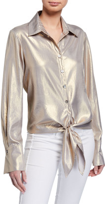 Finley Lindy Liquid Gold Tie-Front Long-Sleeve Top