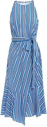 Derek Lam 10 Crosby Wrap-effect Striped Crepe De Chine Midi Dress
