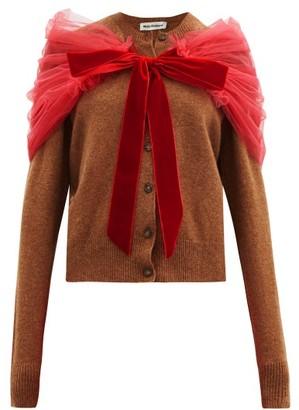 Molly Goddard Joelle Tulle-shawl Wool Cardigan - Brown