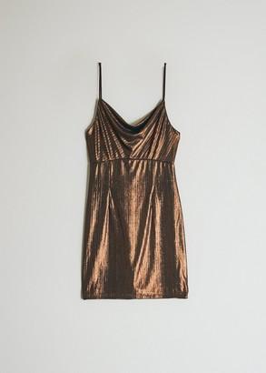 Which We Want Women's Faye Metallic Dress in Metallic Brown, Size Small | Spandex