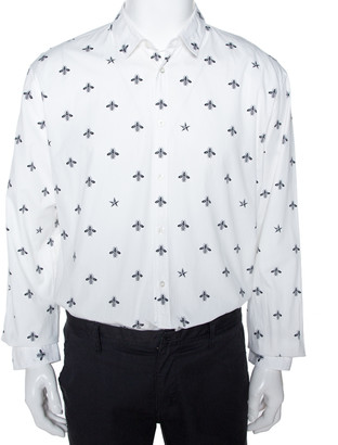 Gucci White Bee & Star Print Cotton Long Sleeve Duke Shirt 4XL