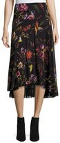 Fuzzi Floral-Print Midi Skirt w/ Lace Underlay