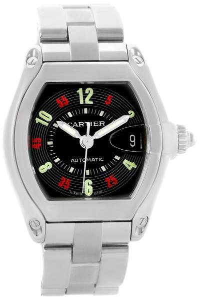 Cartier Roadster W62002V3 Stainless Steel & Black Vegas Roulette Dial 38mm Mens Watch
