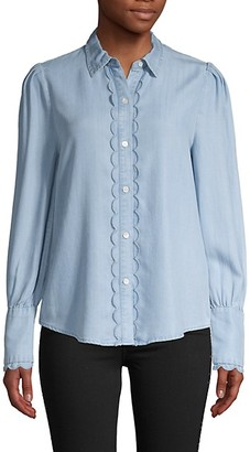 Frame Scalloped Long-Sleeve Shirt
