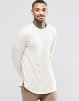 Asos Relaxed Longline Long Sleeve T-Shirt With Curve Hem And Hem Zips In Off White