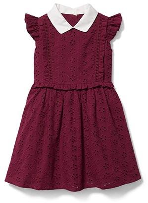 Janie and Jack Eyelet Dress (Toddler/Little Kids/Big Kids) (Burgundy) Girl's Dress