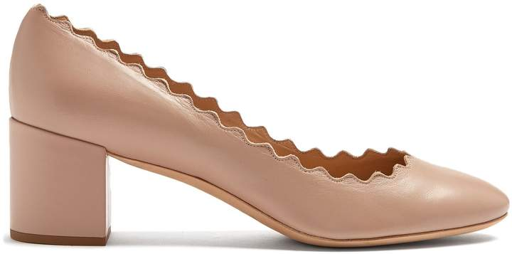 Chloé Lauren scallop-edged leather pumps