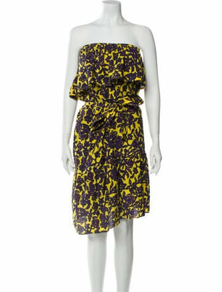 A.L.C. Printed Knee-Length Dress Yellow Printed Knee-Length Dress