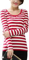 Queen-Ks Women's Cotton Basic Tee Striped Long Sleeve T-Shirt White & Red Medium