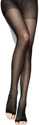 Women Toeless Tights Control Top Ultra Silk Pantyhose Stockings Tattoo Legging Thin Stocking Leggings by Juily (black)