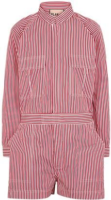 Plan C Striped cotton-poplin playsuit
