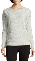 Liz Claiborne Long-Sleeve Jacquard Sweatshirt