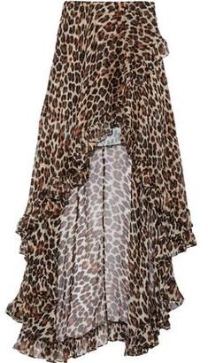 Caroline Constas Adelle Asymmetric Ruffled Leopard-print Silk-chiffon Skirt