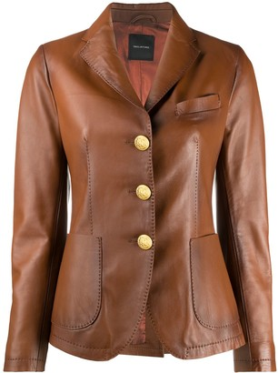 Tagliatore Fitted Leather Jacket