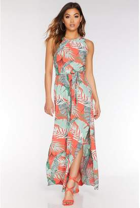 Quiz Green and Coral Tropical Sleeveless Maxi Dress