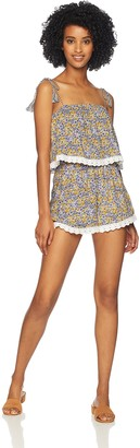 Cupcakes And Cashmere Women's Andria Ruffle Print Romper