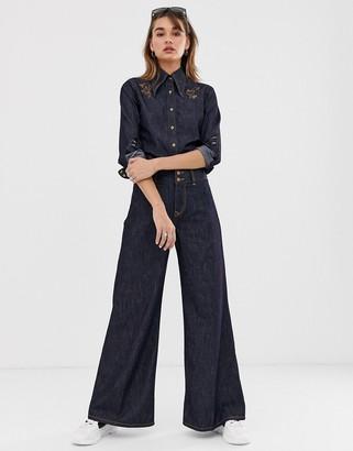 Vivienne Westwood rinse wash wide leg jeans-Blue