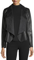 Bagatelle Vegan Leather Drape-Front Jacket