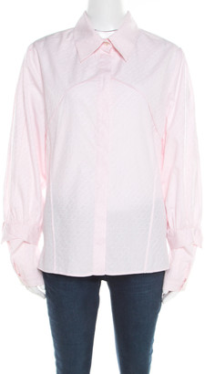 Christian Lacroix Pink Jacquard Cotton Faux Layered Sleeve Button Front Shirt L